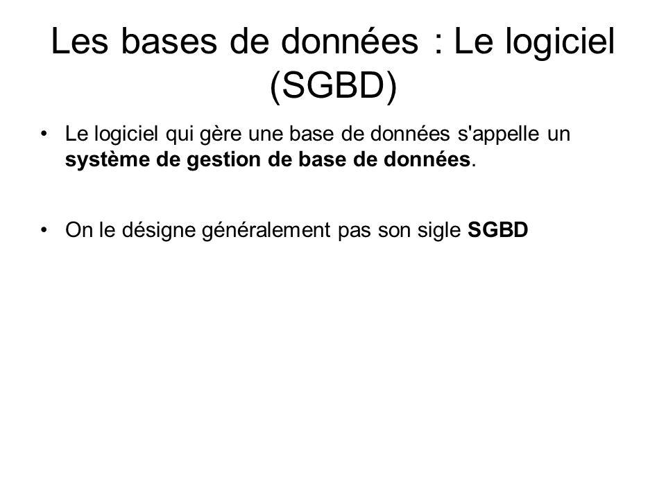 Les bases de données : Le logiciel (SGBD) Le logiciel qui gère une base de données s'appelle un système de gestion de base de données. On le désigne g