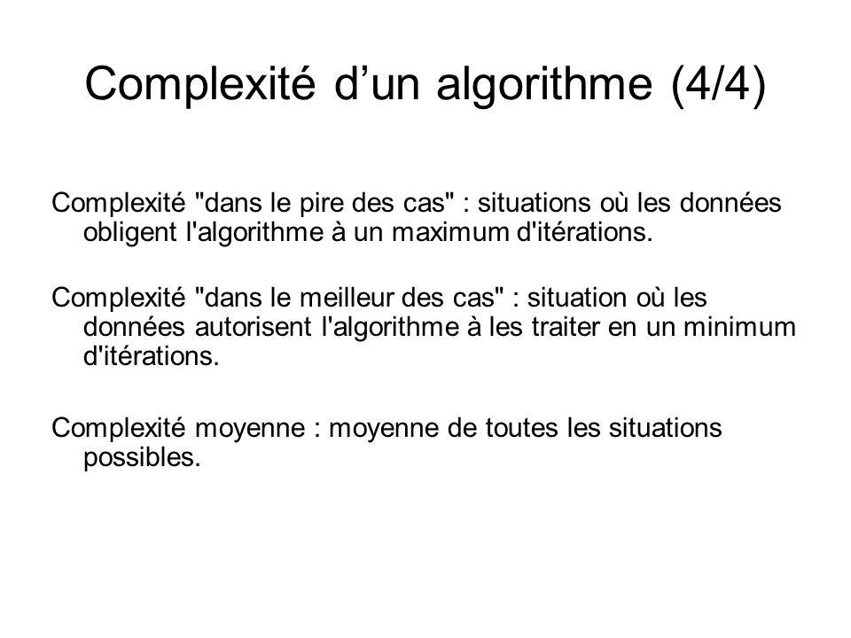 Complexité dun algorithme (4/4) Complexité