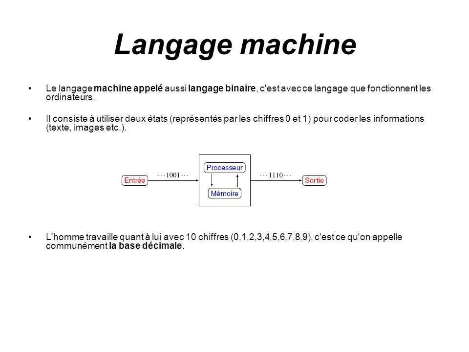 Langage machine Le langage machine appelé aussi langage binaire, c'est avec ce langage que fonctionnent les ordinateurs. Il consiste à utiliser deux é