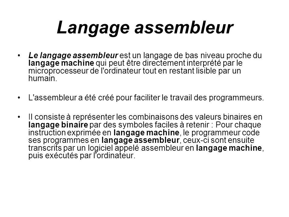 Langage assembleur Le langage assembleur est un langage de bas niveau proche du langage machine qui peut être directement interprété par le microproce