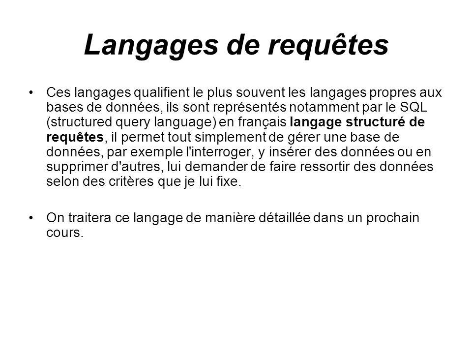 Langages de requêtes Ces langages qualifient le plus souvent les langages propres aux bases de données, ils sont représentés notamment par le SQL (str