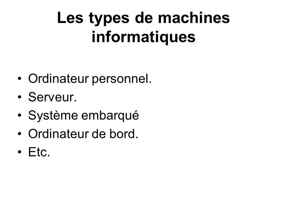 Les types de machines informatiques Ordinateur personnel. Serveur. Système embarqué Ordinateur de bord. Etc.
