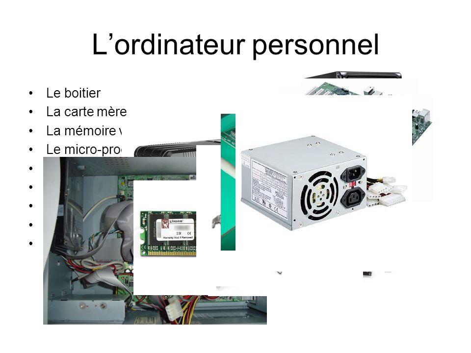 Lordinateur personnel Le boitier La carte mère La mémoire vive Le micro-processeur La carte son La carte graphique Le disque dur La carte réseau Lalim