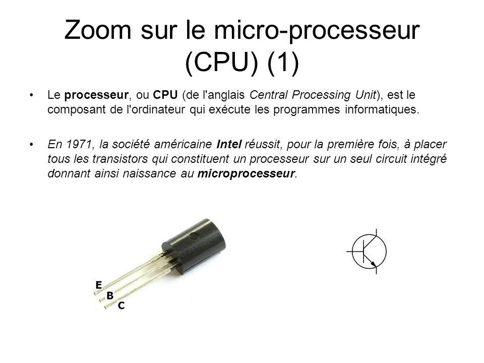 Zoom sur le micro-processeur (CPU) (1) Le processeur, ou CPU (de l'anglais Central Processing Unit), est le composant de l'ordinateur qui exécute les