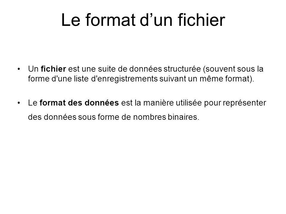 Le format dun fichier Un fichier est une suite de données structurée (souvent sous la forme d'une liste d'enregistrements suivant un même format). Le