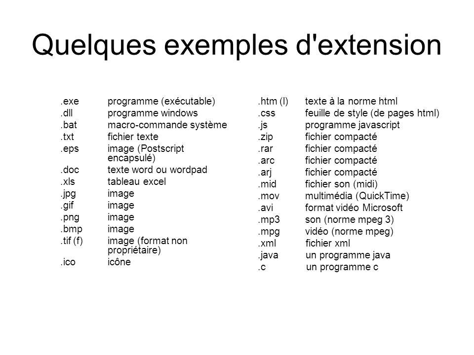 Quelques exemples d'extension.exe programme (exécutable).dll programme windows.bat macro-commande système.txt fichier texte.eps image (Postscript enca