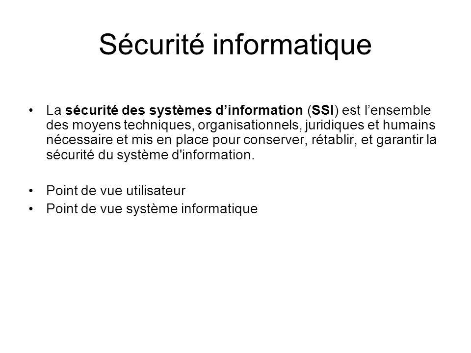 Sécurité informatique La sécurité des systèmes dinformation (SSI) est lensemble des moyens techniques, organisationnels, juridiques et humains nécessa