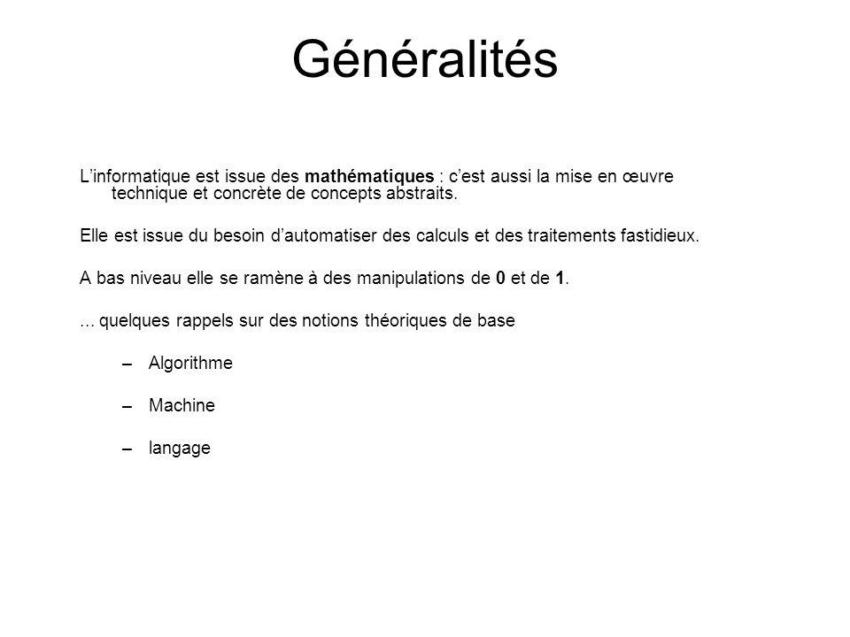 Généralités Linformatique est issue des mathématiques : cest aussi la mise en œuvre technique et concrète de concepts abstraits. Elle est issue du bes