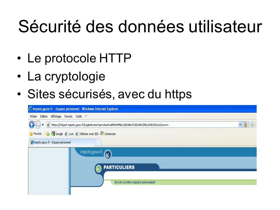 Sécurité des données utilisateur Le protocole HTTP La cryptologie Sites sécurisés, avec du https