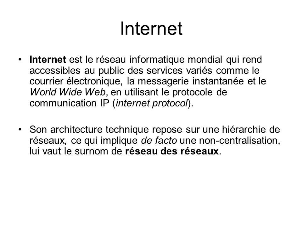 Internet Internet est le réseau informatique mondial qui rend accessibles au public des services variés comme le courrier électronique, la messagerie