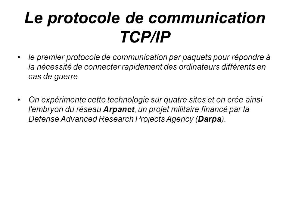 Le protocole de communication TCP/IP le premier protocole de communication par paquets pour répondre à la nécessité de connecter rapidement des ordina