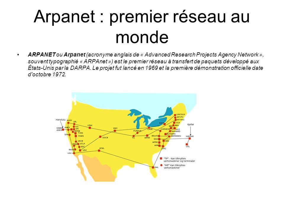 Arpanet : premier réseau au monde ARPANET ou Arpanet (acronyme anglais de « Advanced Research Projects Agency Network », souvent typographié « ARPAnet