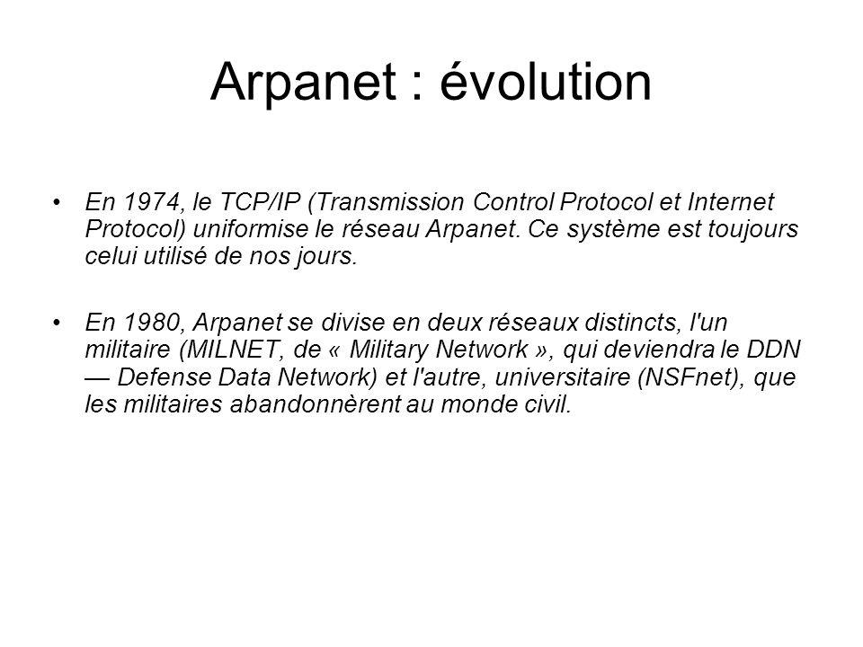 Arpanet : évolution En 1974, le TCP/IP (Transmission Control Protocol et Internet Protocol) uniformise le réseau Arpanet. Ce système est toujours celu