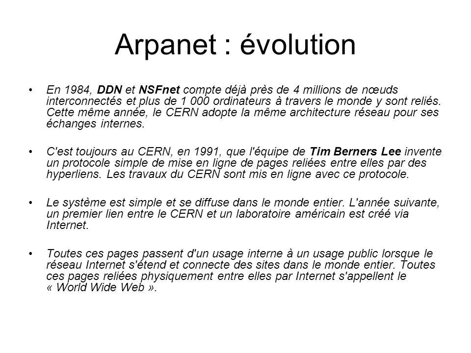 Arpanet : évolution En 1984, DDN et NSFnet compte déjà près de 4 millions de nœuds interconnectés et plus de 1 000 ordinateurs à travers le monde y so