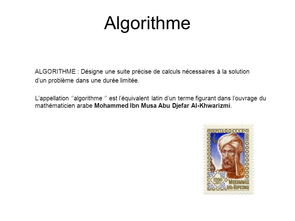 Algorithme ALGORITHME : Désigne une suite précise de calculs nécessaires à la solution dun problème dans une durée limitée. Lappellation algorithme es