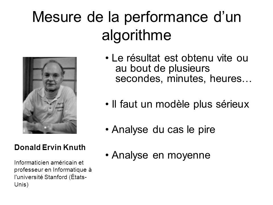Mesure de la performance dun algorithme Le résultat est obtenu vite ou au bout de plusieurs secondes, minutes, heures… Il faut un modèle plus sérieux