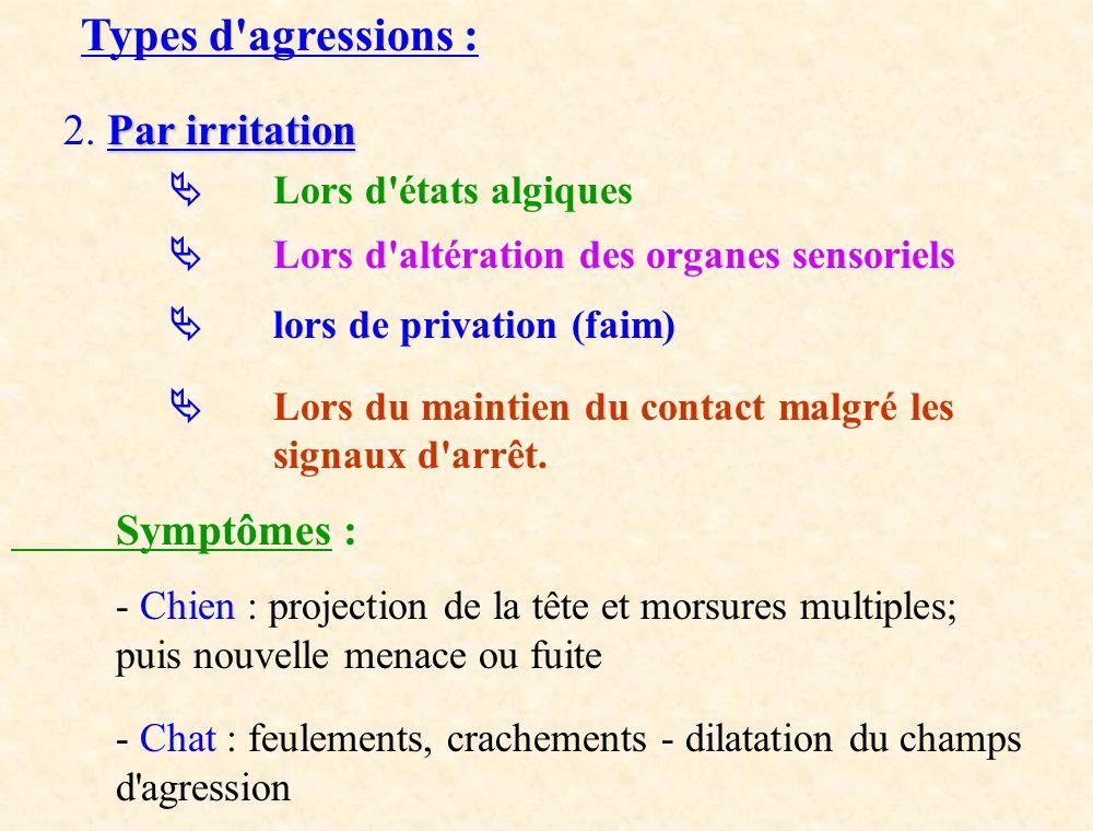 Types d'agressions : Par irritation 2. Par irritation Lors d'états algiques Lors d'altération des organes sensoriels lors de privation (faim) Lors du