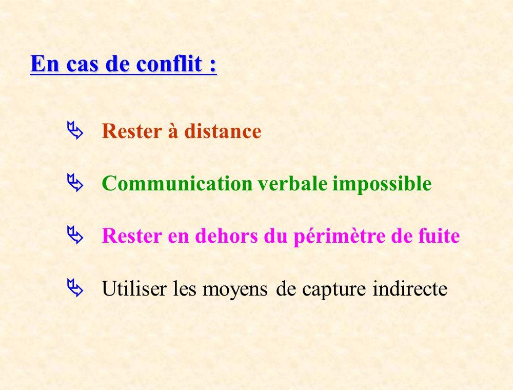 En cas de conflit : Rester à distance Communication verbale impossible Rester en dehors du périmètre de fuite Utiliser les moyens de capture indirecte