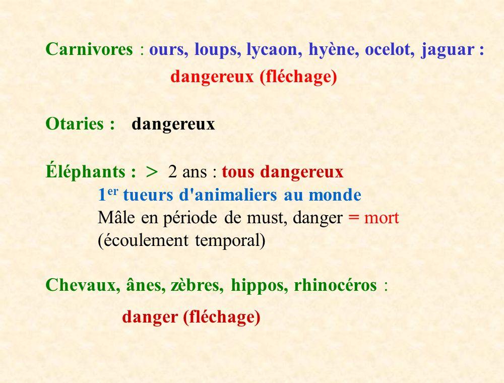 Carnivores : ours, loups, lycaon, hyène, ocelot, jaguar : dangereux (fléchage) Otaries : dangereux Éléphants : 2 ans : tous dangereux 1 er tueurs d'an