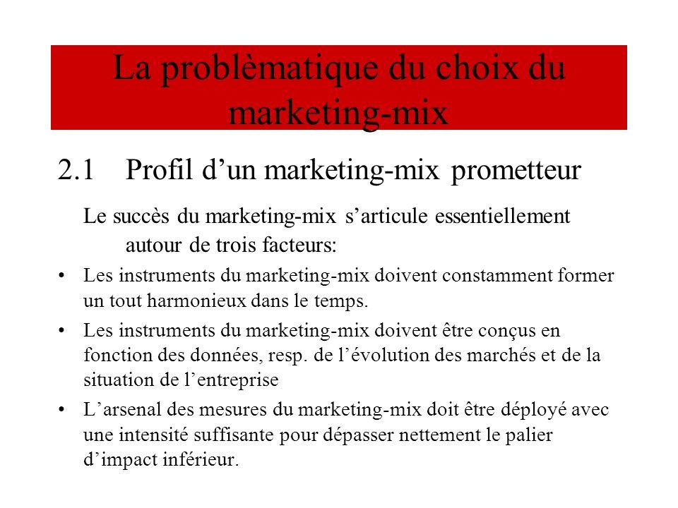 La problèmatique du choix du marketing-mix 2.1Profil dun marketing-mix prometteur Le succès du marketing-mix sarticule essentiellement autour de trois
