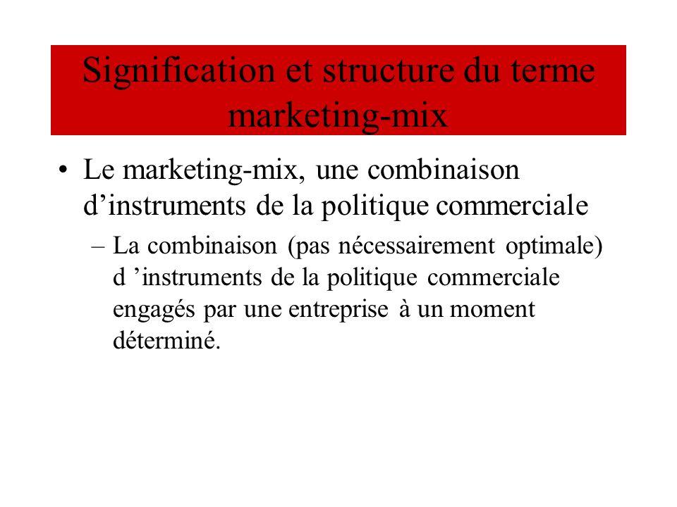 Signification et structure du terme marketing-mix Le marketing-mix, une combinaison dinstruments de la politique commerciale –La combinaison (pas néce