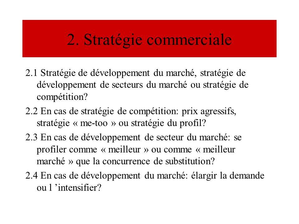2. Stratégie commerciale 2.1 Stratégie de développement du marché, stratégie de développement de secteurs du marché ou stratégie de compétition? 2.2 E