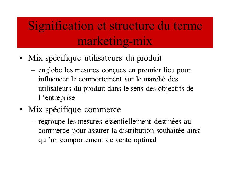 Signification et structure du terme marketing-mix Mix spécifique utilisateurs du produit –englobe les mesures conçues en premier lieu pour influencer