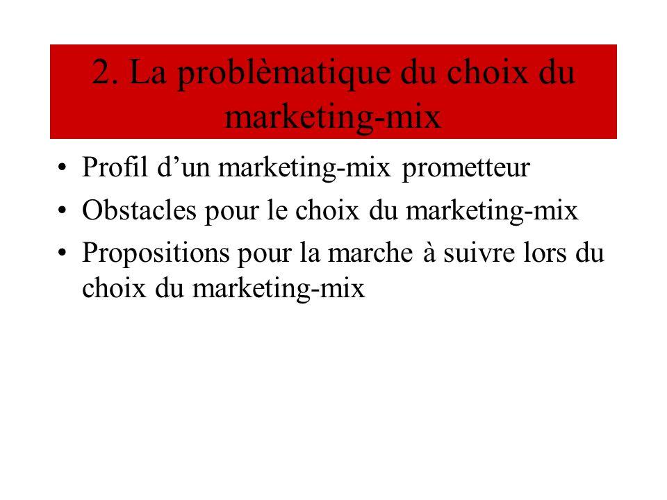 2. La problèmatique du choix du marketing-mix Profil dun marketing-mix prometteur Obstacles pour le choix du marketing-mix Propositions pour la marche