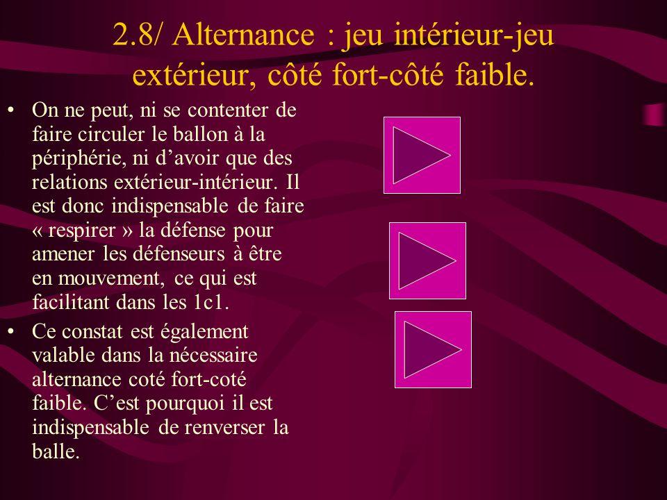 2.8/ Alternance : jeu intérieur-jeu extérieur, côté fort-côté faible. On ne peut, ni se contenter de faire circuler le ballon à la périphérie, ni davo