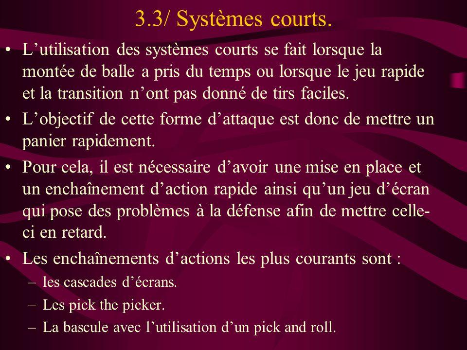 3.3/ Systèmes courts. Lutilisation des systèmes courts se fait lorsque la montée de balle a pris du temps ou lorsque le jeu rapide et la transition no