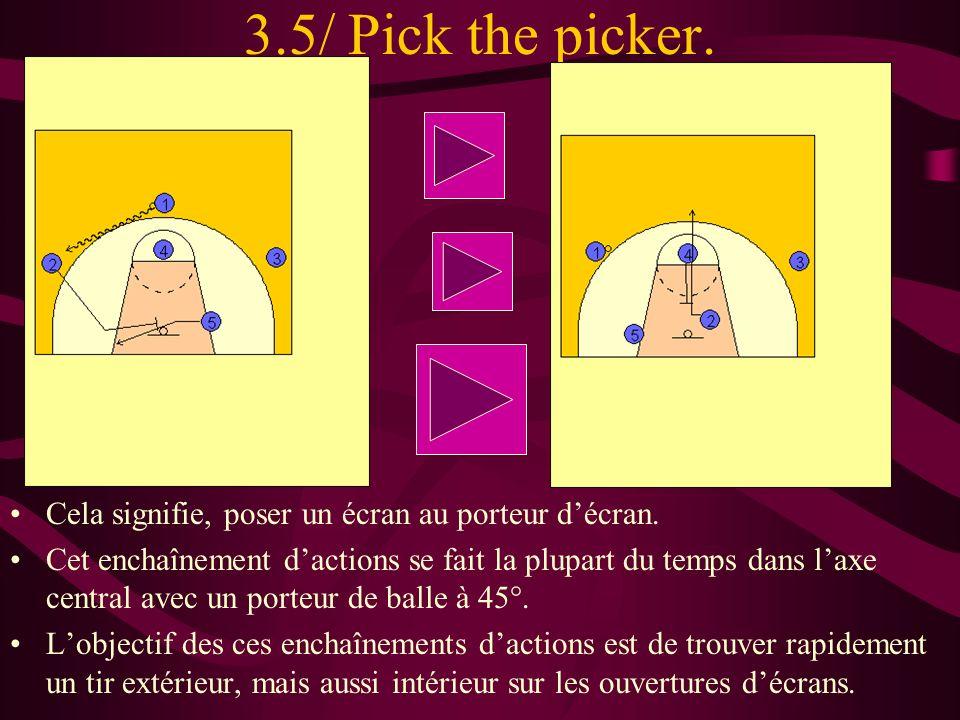 3.5/ Pick the picker. Cela signifie, poser un écran au porteur décran. Cet enchaînement dactions se fait la plupart du temps dans laxe central avec un