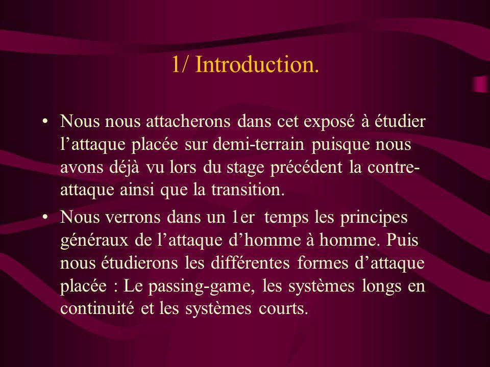 1/ Introduction. Nous nous attacherons dans cet exposé à étudier lattaque placée sur demi-terrain puisque nous avons déjà vu lors du stage précédent l