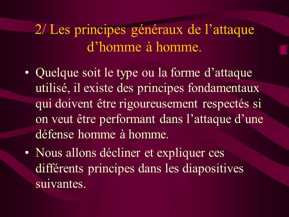 2/ Les principes généraux de lattaque dhomme à homme. Quelque soit le type ou la forme dattaque utilisé, il existe des principes fondamentaux qui doiv