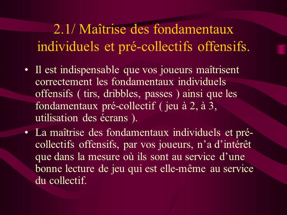 2.1/ Maîtrise des fondamentaux individuels et pré-collectifs offensifs. Il est indispensable que vos joueurs maîtrisent correctement les fondamentaux