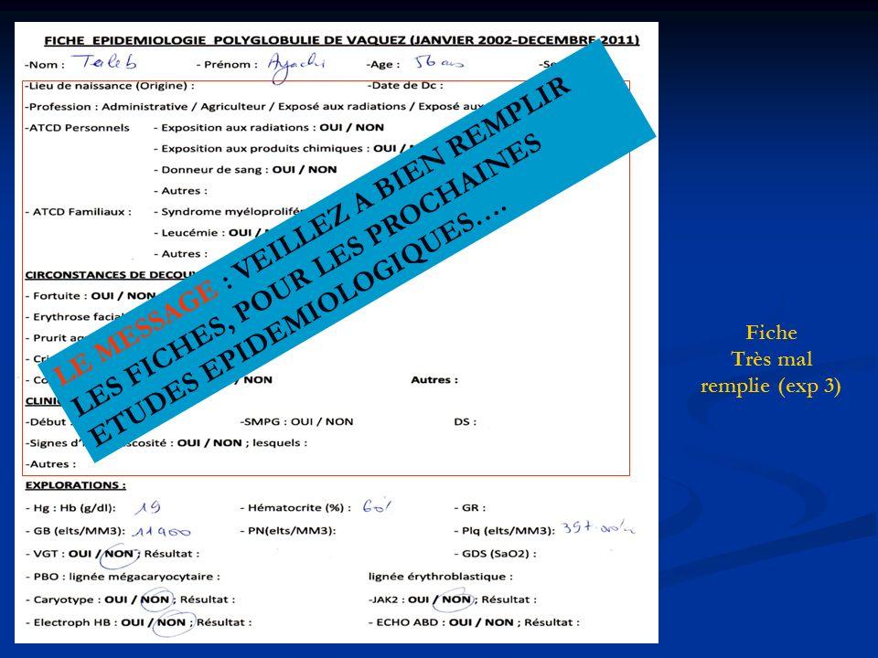 BSE 12/05/12 Tlemcen Fiche Très mal remplie (exp 3) LE MESSAGE : VEILLEZ A BIEN REMPLIR LES FICHES, POUR LES PROCHAINES ETUDES EPIDEMIOLOGIQUES….
