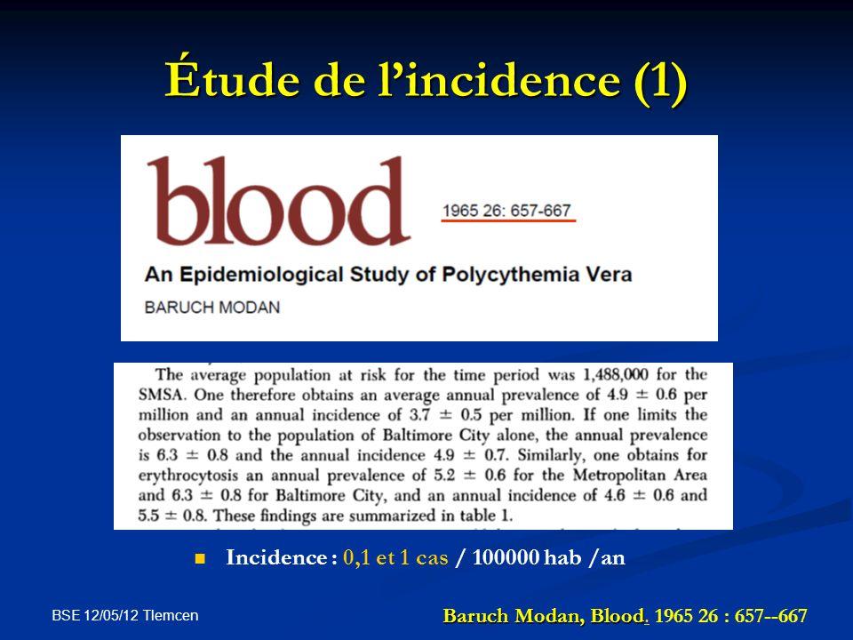 BSE 12/05/12 Tlemcen Étude de lincidence (1) Incidence : 0,1 et 1 cas / 100000 hab /an Baruch Modan, Blood Baruch Modan, Blood. 1965 26 : 657--667.