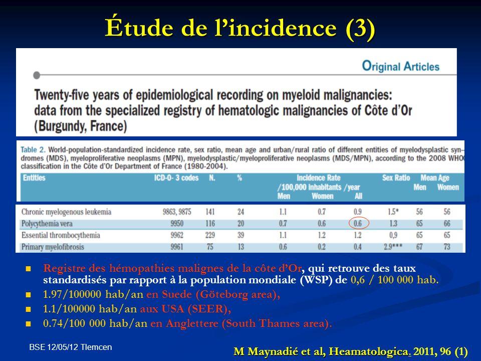 BSE 12/05/12 Tlemcen Étude de lincidence (3) Registre des hémopathies malignes de la côte dOr, qui retrouve des taux standardisés par rapport à la pop