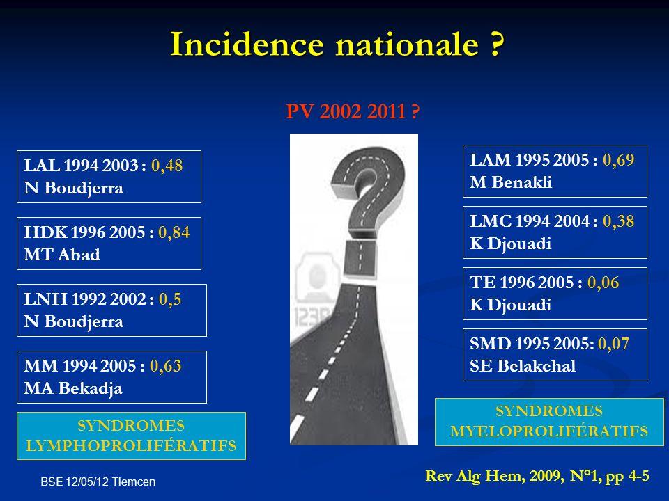BSE 12/05/12 Tlemcen Incidence nationale ? PV 2002 2011 ? LMC 1994 2004 : 0,38 K Djouadi LAL 1994 2003 : 0,48 N Boudjerra HDK 1996 2005 : 0,84 MT Abad