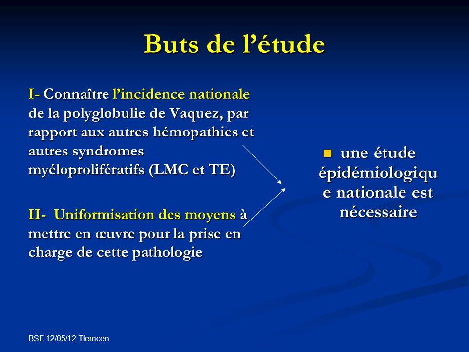 BSE 12/05/12 Tlemcen PATIENTS ET METHODES Lenquête nationale que nous présentons est représentative des 15 principaux services dhématologie qui prennent en charge cette pathologie.