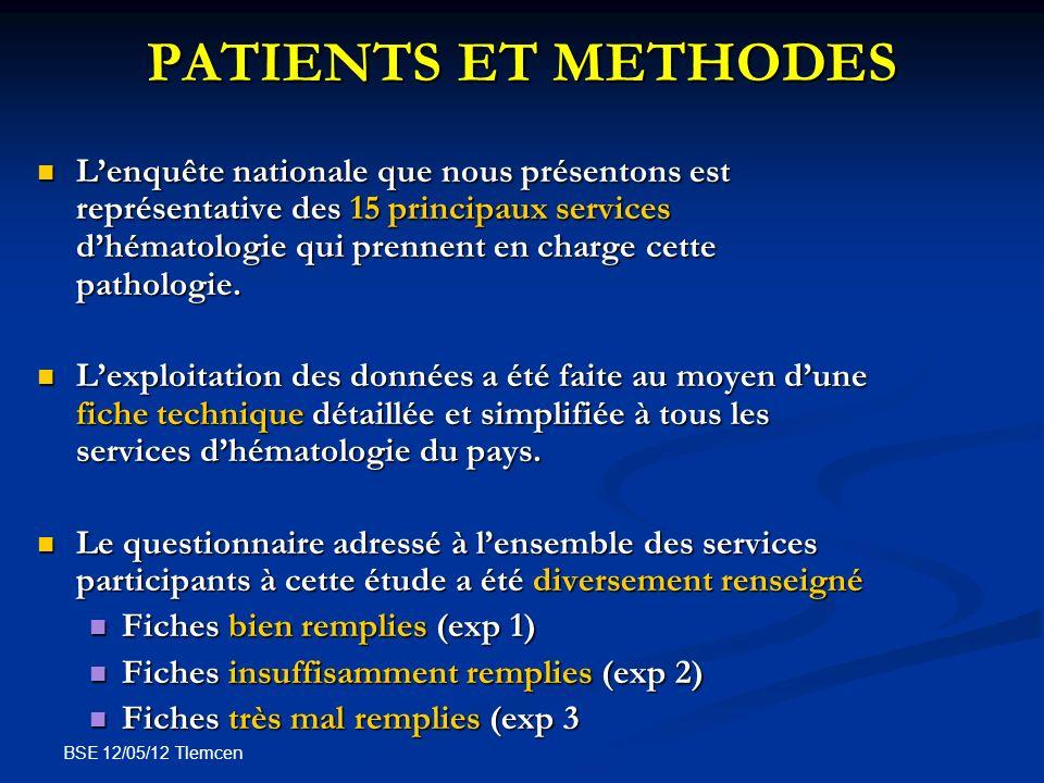 BSE 12/05/12 Tlemcen PATIENTS ET METHODES Lenquête nationale que nous présentons est représentative des 15 principaux services dhématologie qui prenne