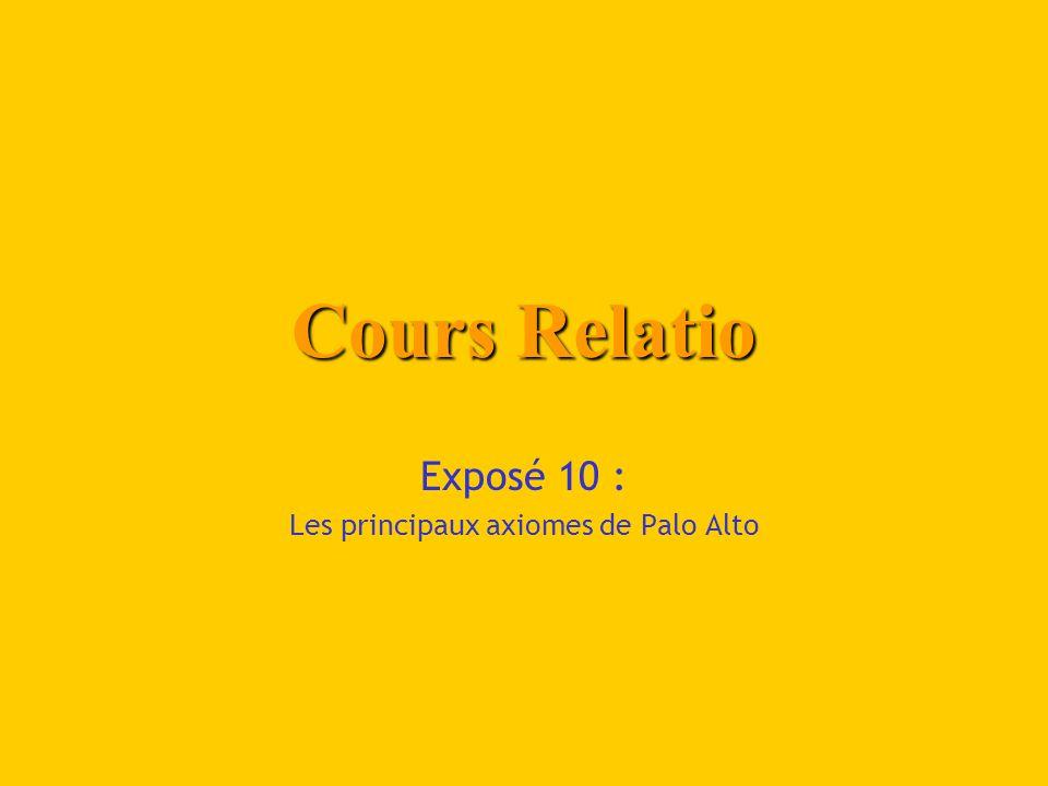 Cours Relatio Exposé 10 : Les principaux axiomes de Palo Alto