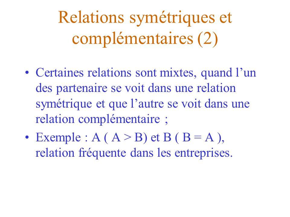 Relations symétriques et complémentaires (2) Certaines relations sont mixtes, quand lun des partenaire se voit dans une relation symétrique et que lau