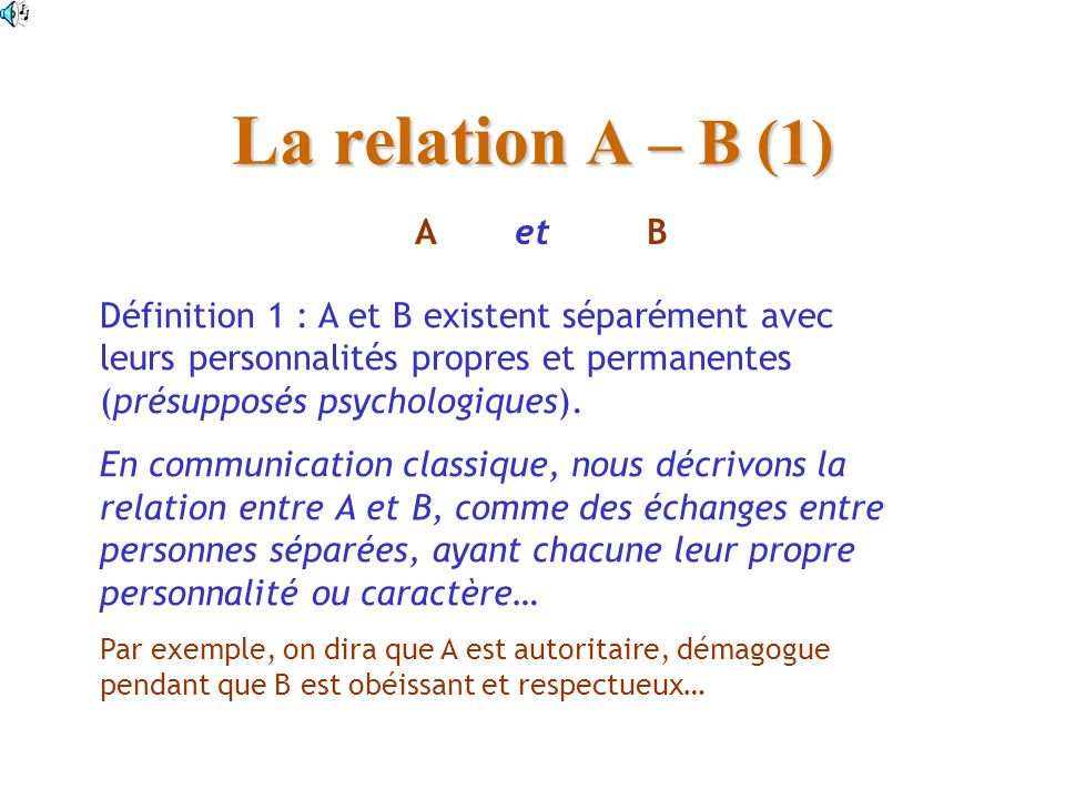 La relation A – B (1) Définition 1 : A et B existent séparément avec leurs personnalités propres et permanentes (présupposés psychologiques).