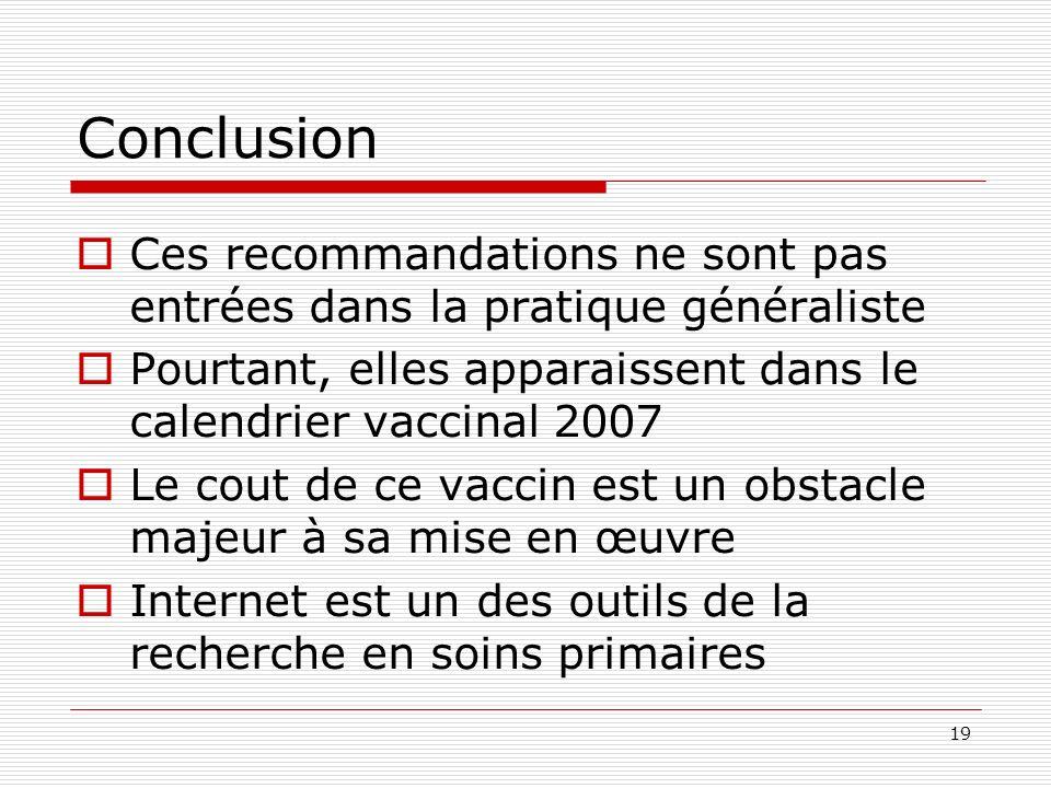 19 Conclusion Ces recommandations ne sont pas entrées dans la pratique généraliste Pourtant, elles apparaissent dans le calendrier vaccinal 2007 Le cout de ce vaccin est un obstacle majeur à sa mise en œuvre Internet est un des outils de la recherche en soins primaires