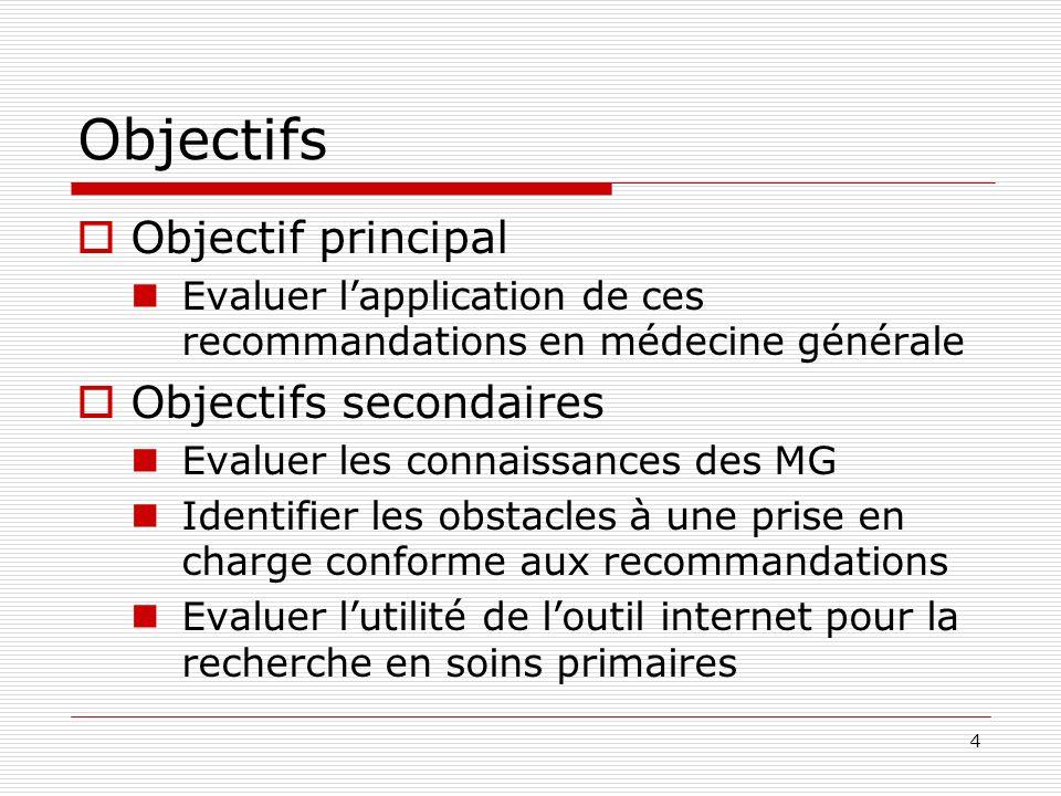 4 Objectifs Objectif principal Evaluer lapplication de ces recommandations en médecine générale Objectifs secondaires Evaluer les connaissances des MG Identifier les obstacles à une prise en charge conforme aux recommandations Evaluer lutilité de loutil internet pour la recherche en soins primaires