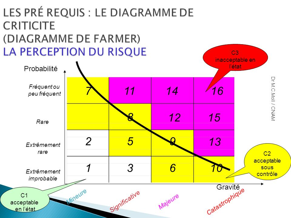 LES PRÉ REQUIS : LE DIAGRAMME DE CRITICITE (DIAGRAMME DE FARMER) LA PERCEPTION DU RISQUE Catastrophique Majeure Significative Mineure Fréquent ou peu