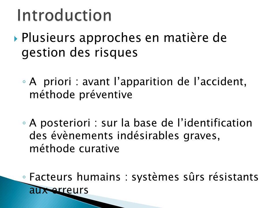 Plusieurs approches en matière de gestion des risques A priori : avant lapparition de laccident, méthode préventive A posteriori : sur la base de lide