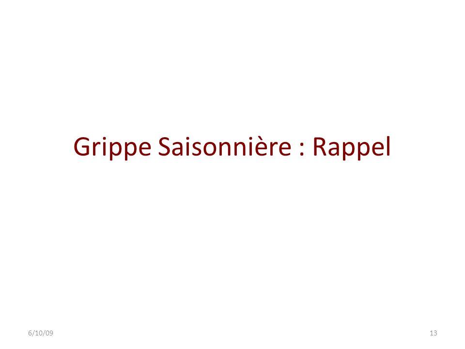 Grippe Saisonnière : Rappel 6/10/0913