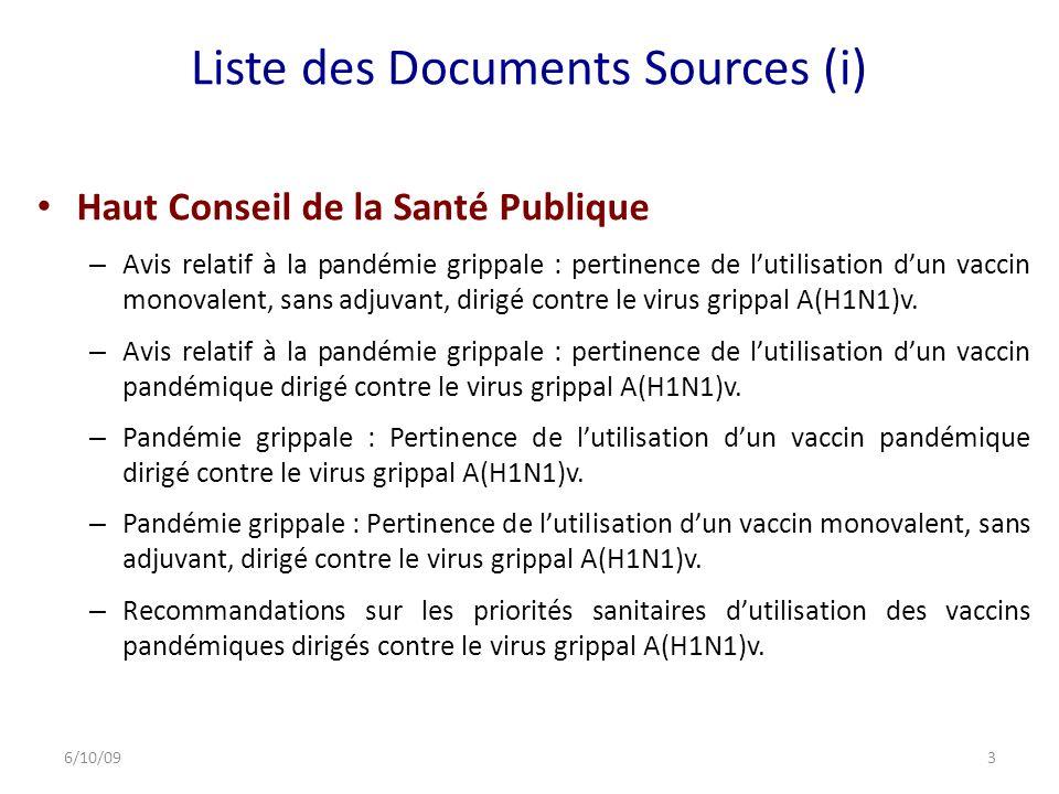 Liste des Documents Sources (i) Haut Conseil de la Santé Publique – Avis relatif à la pandémie grippale : pertinence de lutilisation dun vaccin monovalent, sans adjuvant, dirigé contre le virus grippal A(H1N1)v.