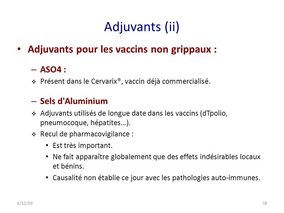 Adjuvants (ii) Adjuvants pour les vaccins non grippaux : – ASO4 : Présent dans le Cervarix®, vaccin déjà commercialisé.